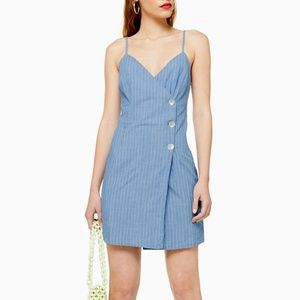 Topshop Blue Stripe Wrap Dress
